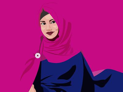 girl in hijab vector illustration digital art work digital artist digital art vector art work vector artist vector art vector portrait