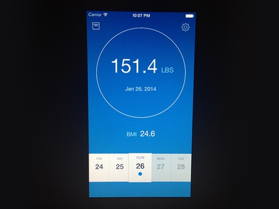 Weight photoshop mobile clean design ios iphone app ios7 ui blue interface