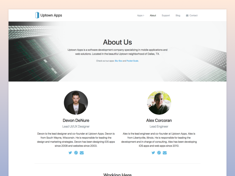Uptown Apps About Page site company dallas page about ios web website