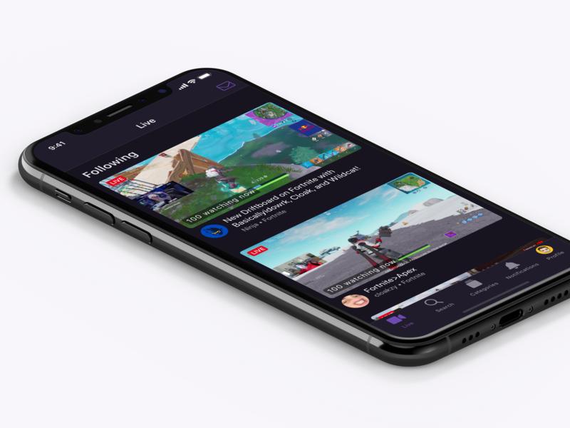Twitch iOS App Concept twitch.tv video twitch iphone app mobile purple ios design ui design iphone app ios
