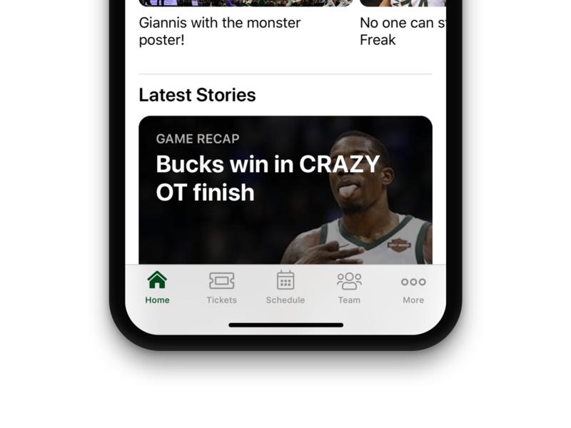 Milwaukee Bucks iOS App Redesign redesign nba ios app design ios design mobile ios app ui iphone app ios
