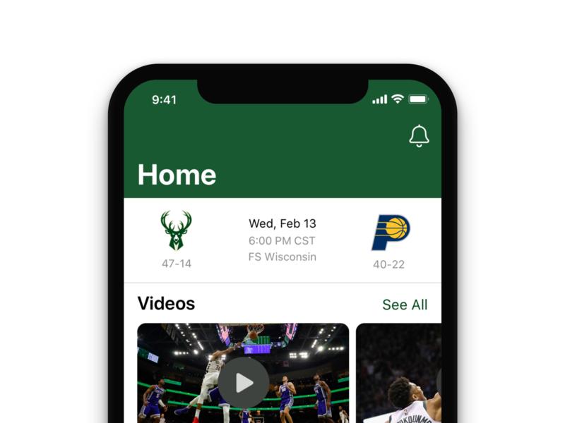 Milwaukee Bucks iOS App Redesign - Home green redesign nba ios app design ios app ios design design mobile ui iphone app ios