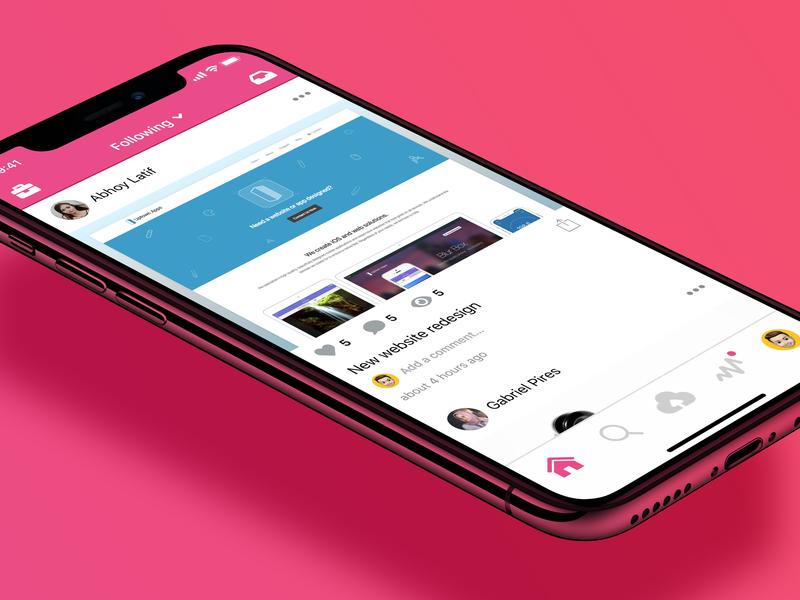 Dribbble iOS App Navigation Redesign tab bar navigation bar pink dribbble branding ios app design ios design ios app design mobile ui iphone app ios