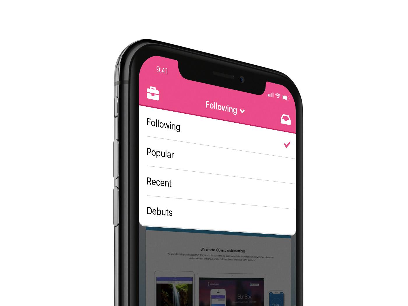 Dropdown Filter navigation bar dropdown filter dribbble pink ios app design ios design ios app design mobile ui iphone app ios