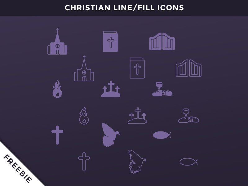 Freebie: Christian Vector Icons christ christian vector icon icons god cross bible gates church fish dove