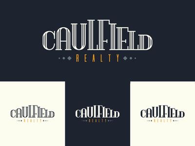 Caulfield Realty Brand cream blue home house artdeco logo brand realty