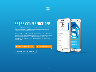 36 | 86 Conference App Landing Page googleplay appstore android ios conference app web page landing 36|86