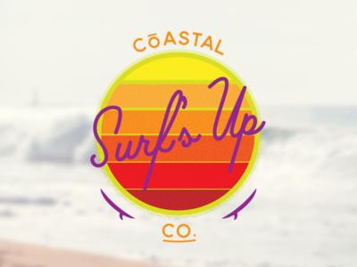CōASTAL CO. Surf's Up Badge vintage coastal warm sun brand logo water ocean coast badge surf