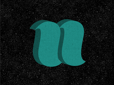n texture 3d lettering hand-lettered green n