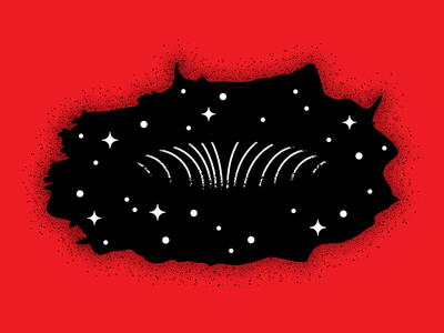 The Black Hole red deepspace blackhole black space stipple