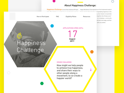 Axed Happiness Challenge Hero Section ux ui yellow colors shapes landing page hero