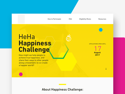 Happiness Challenge Concept 2 yellow ux ui shapes landing page hero colors