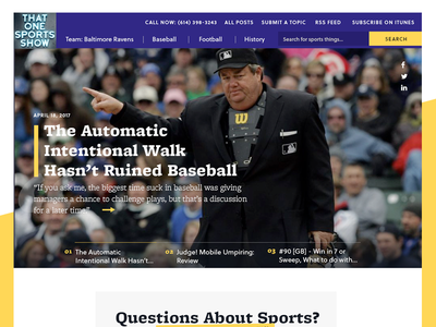 That One Sports Show Home homepage editorial baseball sports ui ux