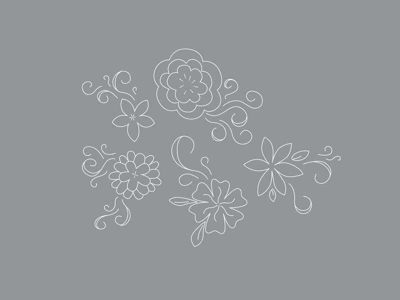 Floral Line Illustrations line drawing vector illustration florals