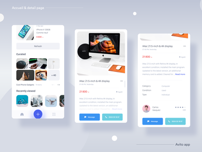 __Avito.ma App 📦II — Accueil & Detail page detail page accueil ux ui ux design ux user interface design user interface user experience uix ui design ui mobile app minimal ios mobile application icon flat feed clean avito app