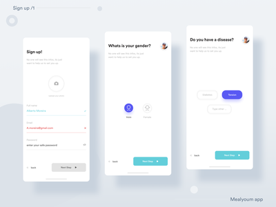 __Mealyoum App 🍲— Sign up /1 meals sign up sign in ux ui ux design ux user interface design user interface user experience uix ui design ui mobile app minimal ios mobile application icon flat feed clean app