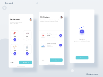 __Mealyoum App 🍲— Sign up /3 sign in meals sign up ux ui ux design ux user interface design user interface user experience uix ui design ui mobile app minimal ios mobile application icon flat feed clean app