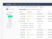 Orders and tickets view for evendate.io