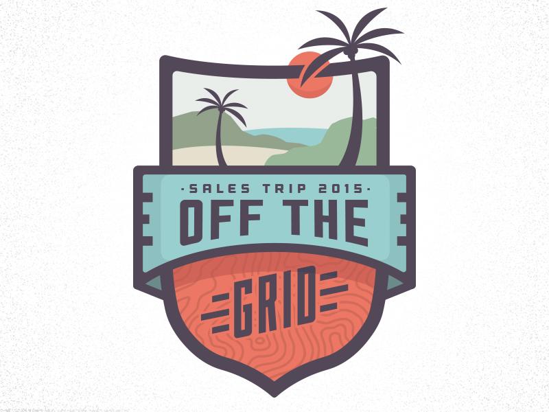 Sales Trip Campaign Logo illustration typography badge emblem grid summer ocean beach tropical tgrip campaign logo