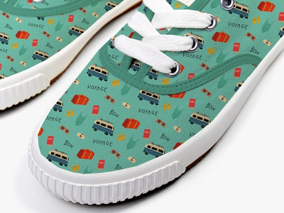 Bon Voyage design pattern on sneakers