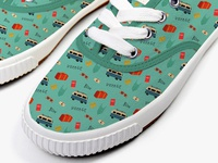 Bon Voyage design pattern on sneakers