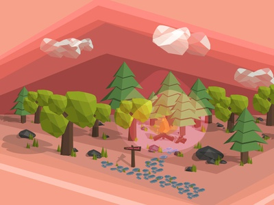 On Dribbble Road camp fire dribbble road low poly nature