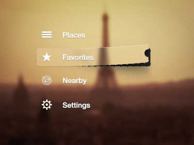 Nav Menu Style place ux ui app location nearby map paris settings favorites brand dribbble hover effect pixel icon perfect