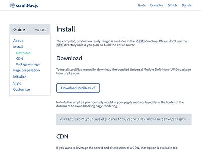 scrollNav Guide Mockup scrollnav scroll plugin navigation js javascript animated