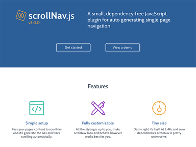 scrollNav Home Mockup scrollnav scroll plugin navigation js javascript animated