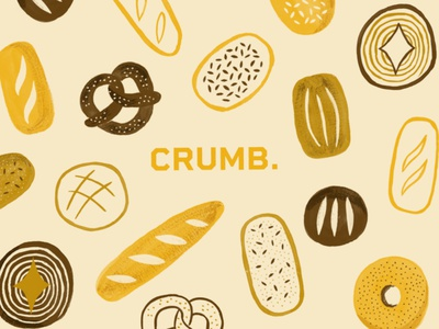 Crumb food pattern gouache visual identity branding design graphicdesign bread bakery food illustration illustration art illustration