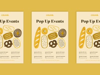 Crumb Poster branding design illustration art illustration bread bakery print design poster design pattern gouache food pattern