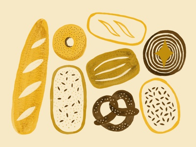 Bakery bread print design food food illustration branding design branding bakery graphic design gouache pattern illustration