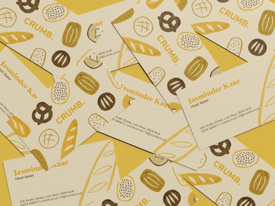 Crumb business cards print design food illustration pattern bakery bread illustration brand branding design visual identity graphic design business cards