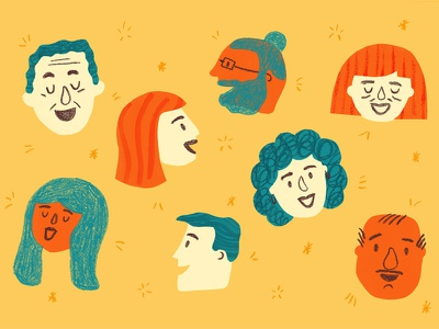 Comedy Club faces texture bold laughter people illustration