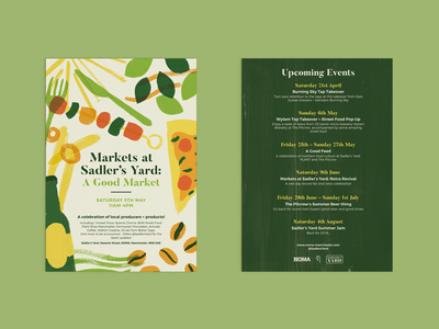 Sadler's Yard Flyer food market food print design poster flyer design illustration