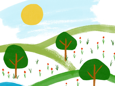 A Trip Out meadow flowers field nature trees paint illustration