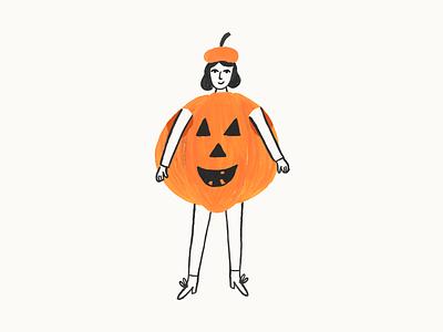 Pumpkin halloween costume hand drawn painting gouache character illustration pumpkin illustration halloween