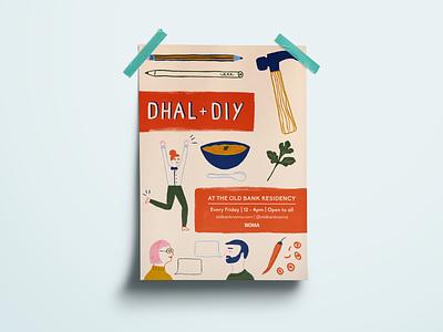 Dhal + DIY food illustration gouache mixed media illustration poster poster art graphic design print design