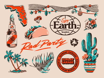 Flash Folio 2020 - 4 party rad mushroom florida beer taco cactus skull palms tiki hula hawaiian hawaii retro tropical logo skate surf
