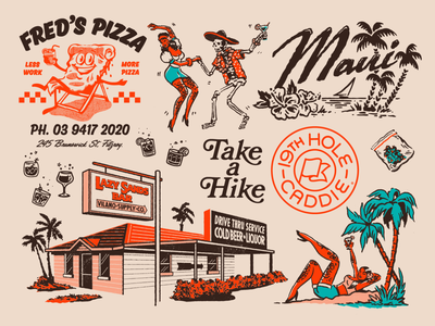 Flash Folio 2020 - 6 mid century maui girls skull dancing pizza cannabis cocktails mexican hawaii retro tropical logo