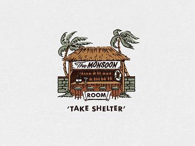 The Monsoon Room Illustration mid century cocktail bar art branding tiki aloha illustration hula hawaii retro tropical