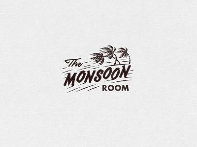 The Monsoon Room Logo midcentury cocktail tiki aloha illustration hawaiian hula hawaii retro tropical