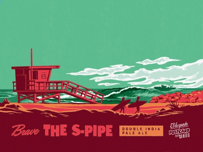 Brave THE S-PIPE retro illustration waves surf tropical midcentury california beer label beer can beer branding ipa beer craftbeer