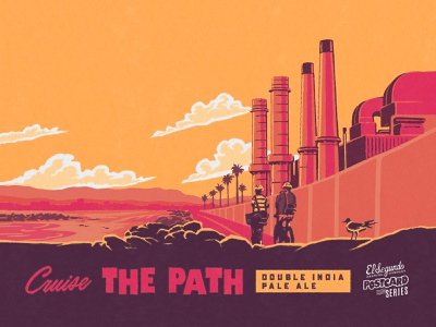 Cruise THE PATH midcentury pale ale ipa design skate tropical illustration branding beer branding beer label craft beer california surf retro