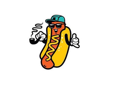 Hawt Dawg character 420 pipe smoking sunglasses shaka cap style street cool hotdog logo