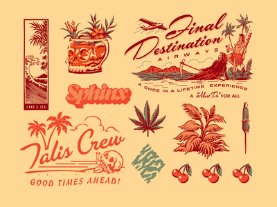 Flash Folio 7 typography tiki girl hula hawaiian hawaii retro tropical logo skate surf