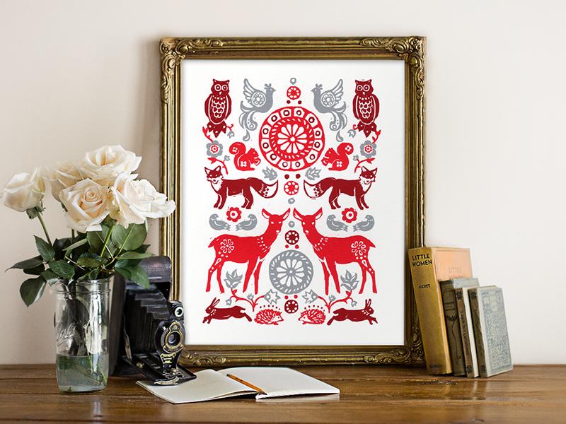 Fox & Doe  folk hare squirrel owl fox doe grey red woodland folk art