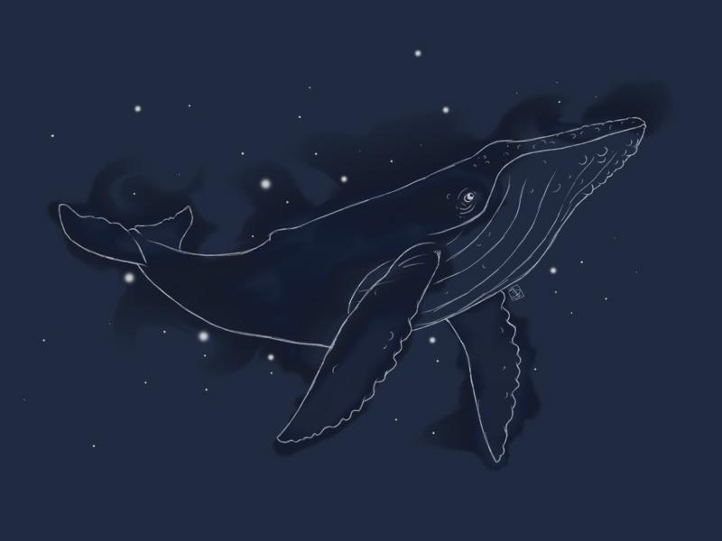 Spacial Whale painting sketchbookpro whale ocean wave blue space