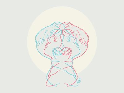 Looking Glass art illustration artwork pink blue
