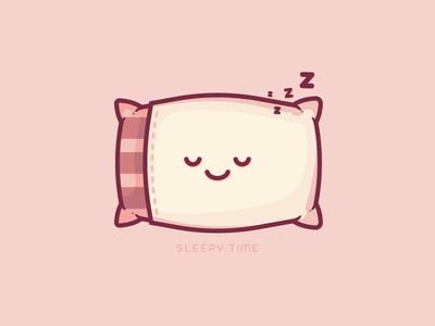 Sleepy Time cute night sleeping sleep illustrator art vector pillow